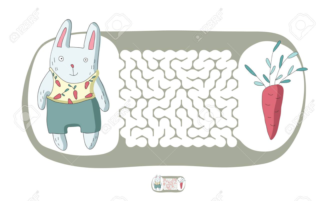 Children S Maze With Rabbit And Carrot Cute Puzzle Game For