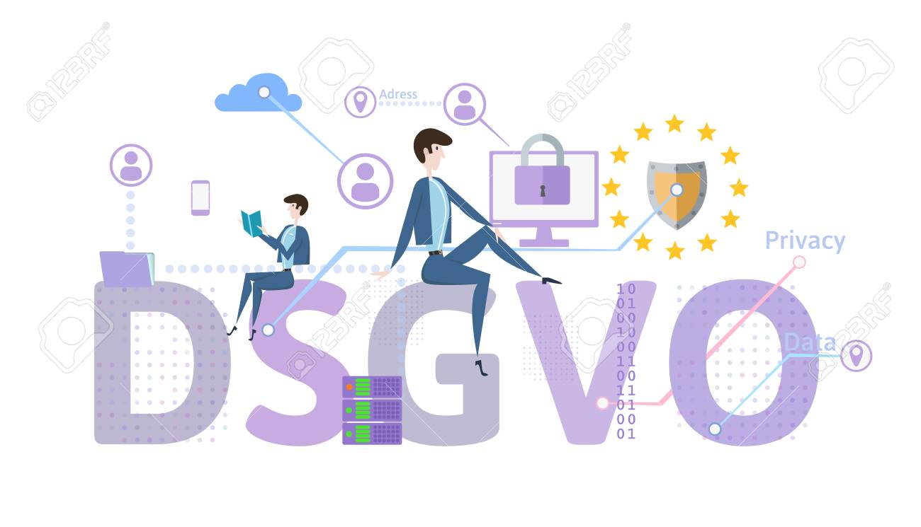 General Data Protection Regulation. GDPR, called DSGVO in German. Concept vector illustration. The protection of personal data. Isolated on white background. - 94295524