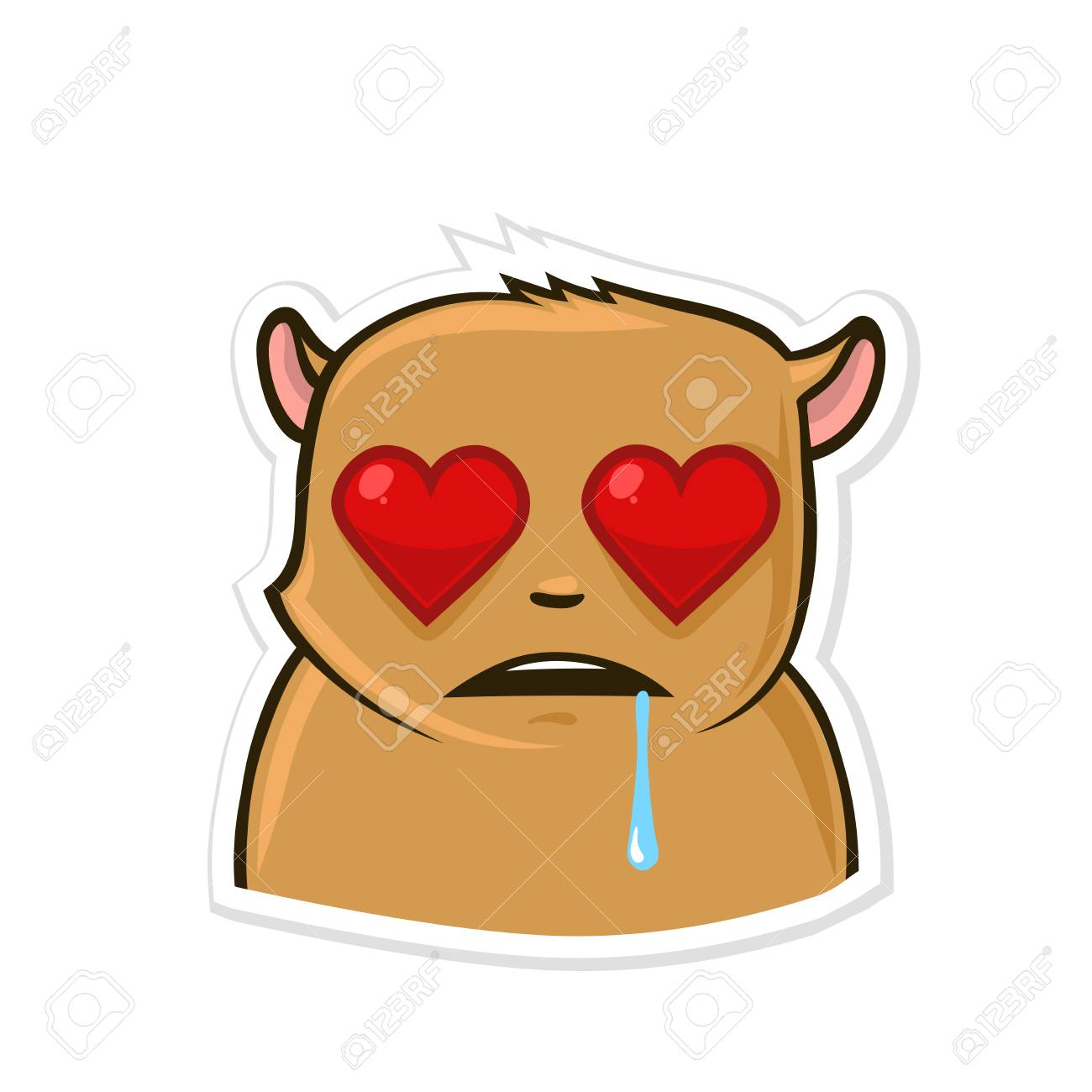 Sticker For Messenger With Funny Animal Character Hamster In Love Vector Illustration Isolated On White Background Royalty Free Cliparts Vectors And Stock Illustration Image 95895705