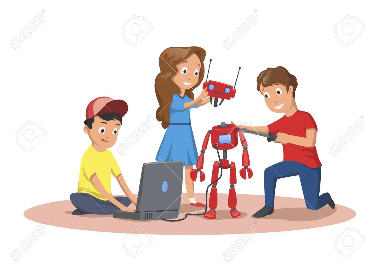 Happy Children Creating And Programming A Robot Children S Club