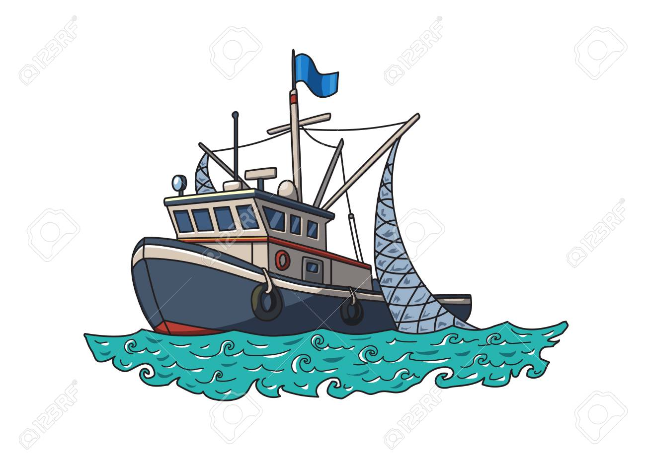 Fishing boat in the sea. Vector illustration, isolated on white background. - 99015497