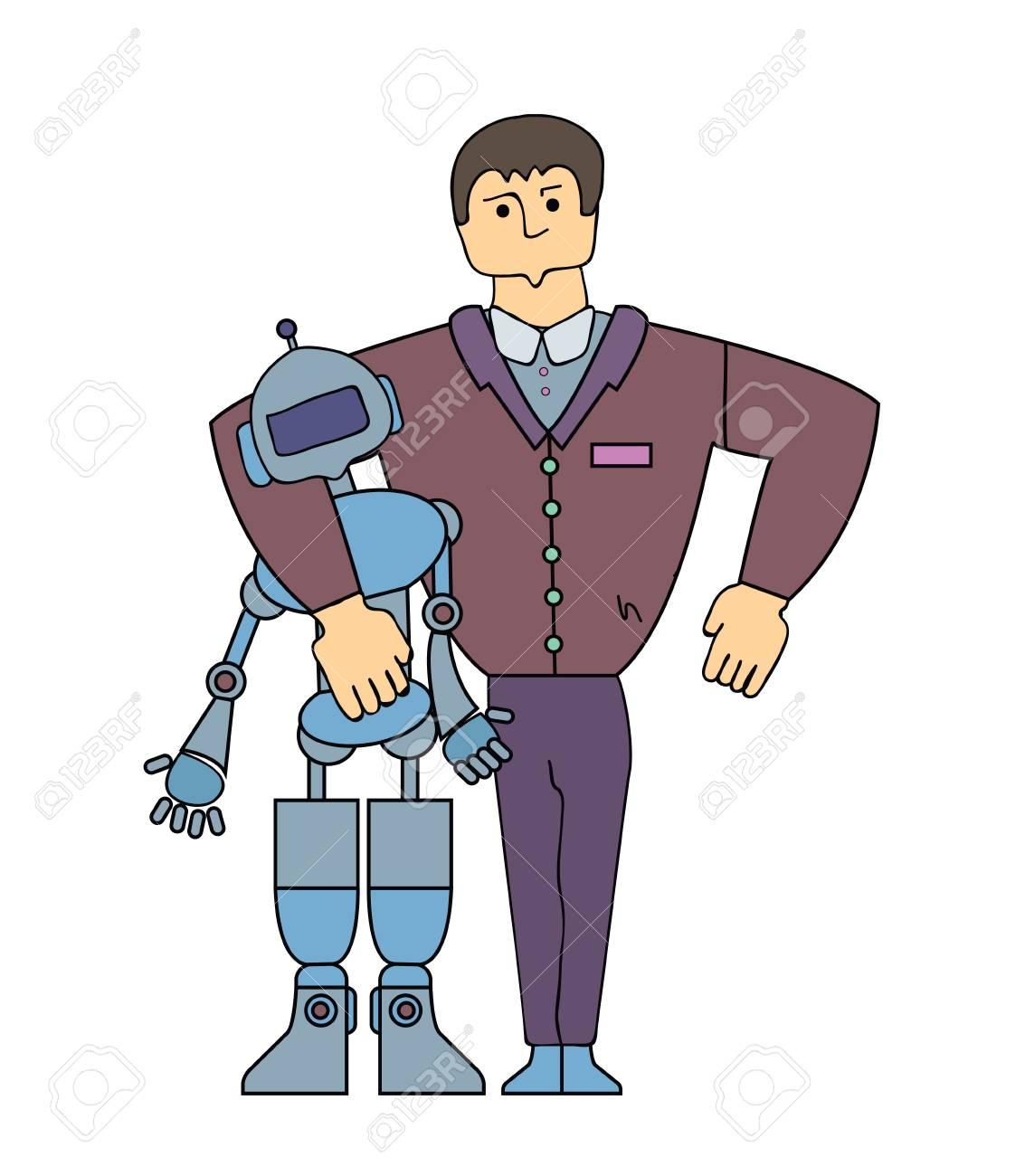 Human-Robot Interaction  Strong man embracing a robot  Cartoon