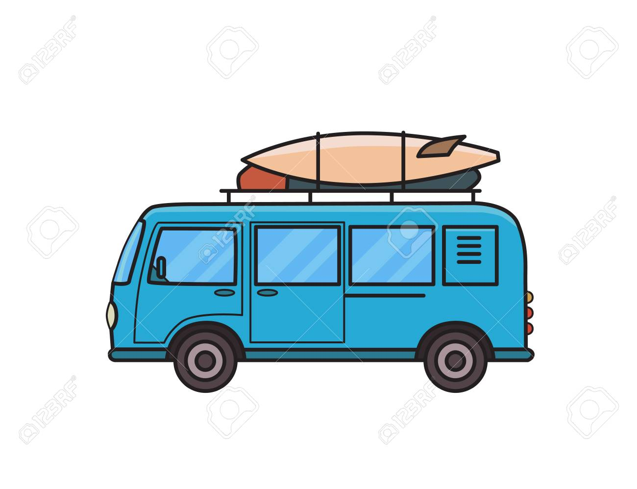 Surf Rack For Car >> Blue Minivan Car With Surfboard And Luggage On Roof Rack Surfers