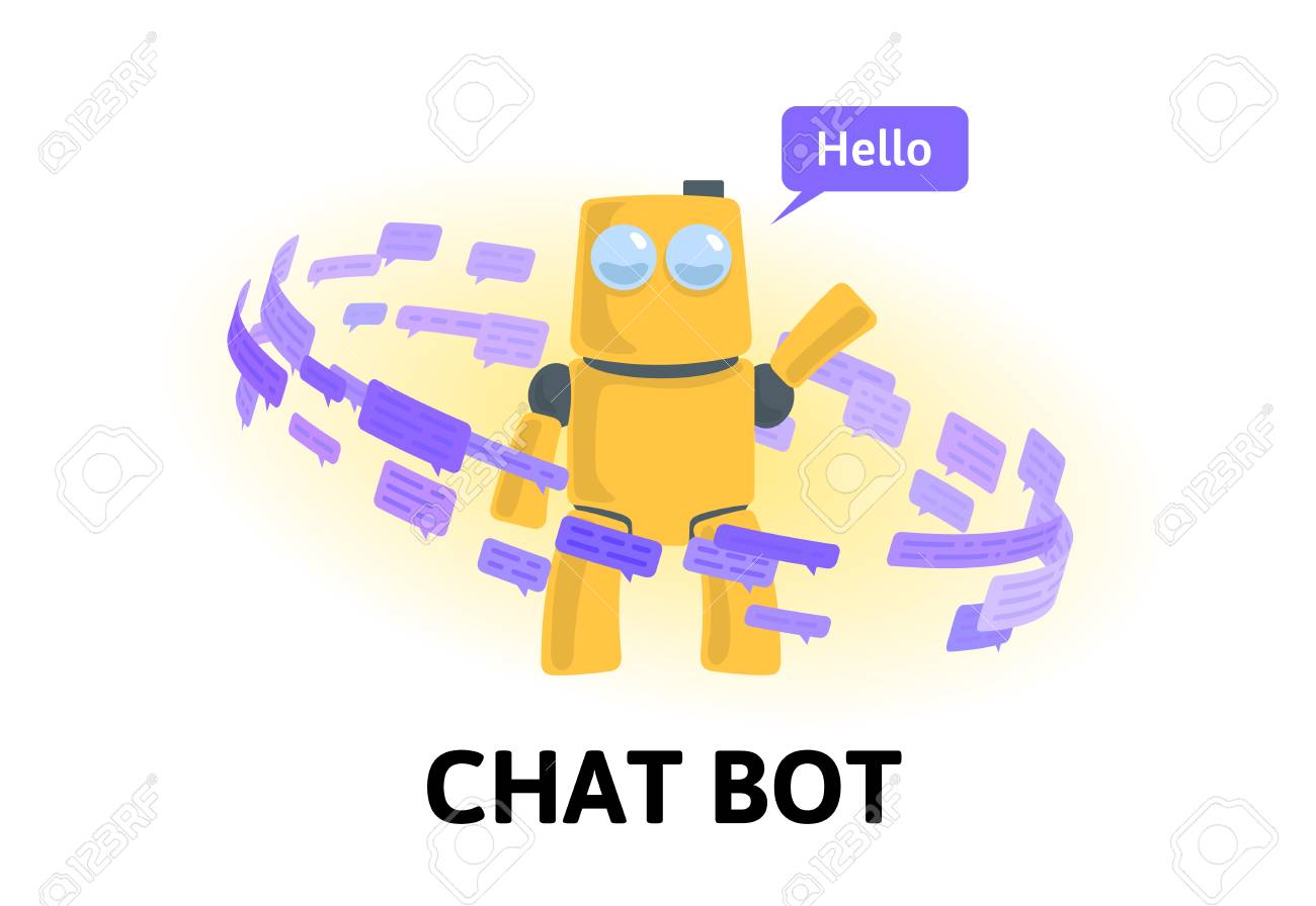 Friendly robot in the circle of text messages and speech bubbles