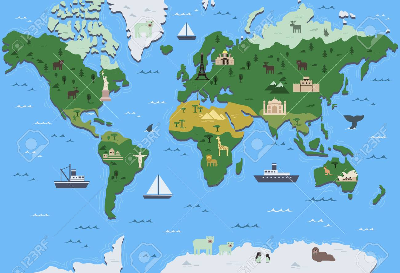 Stylized World Map With Tourist Attraction Symbols Simple