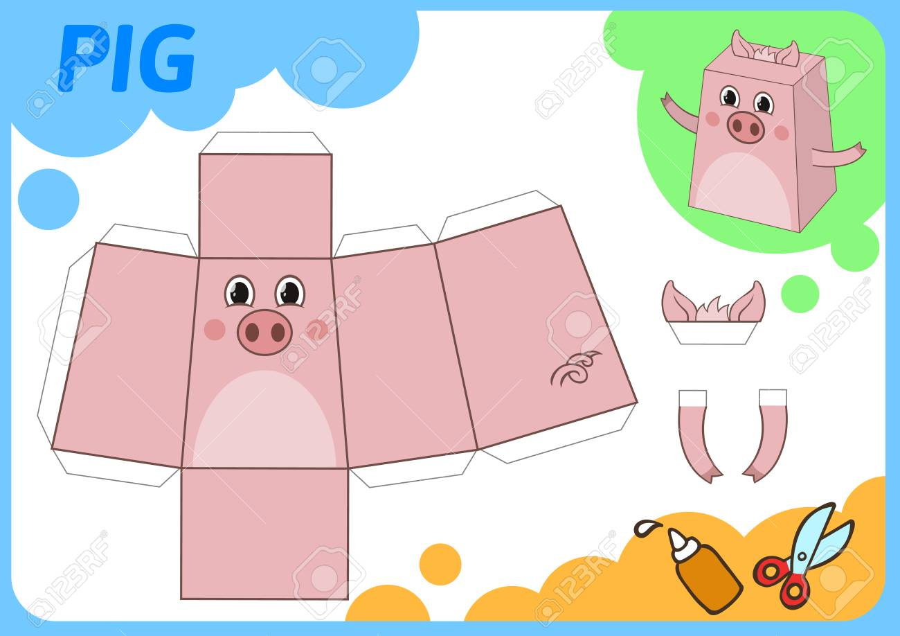 Funny Pig Paper Model Small Home Craft Project Game Cut Out