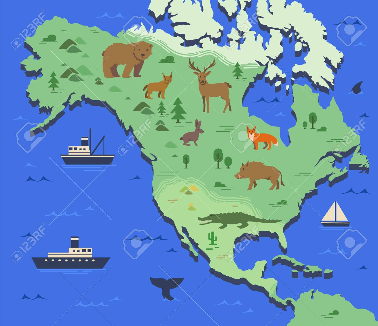 Indigenous Map Of North America.Stylized Map Of North America With Indigenous Animals And Nature