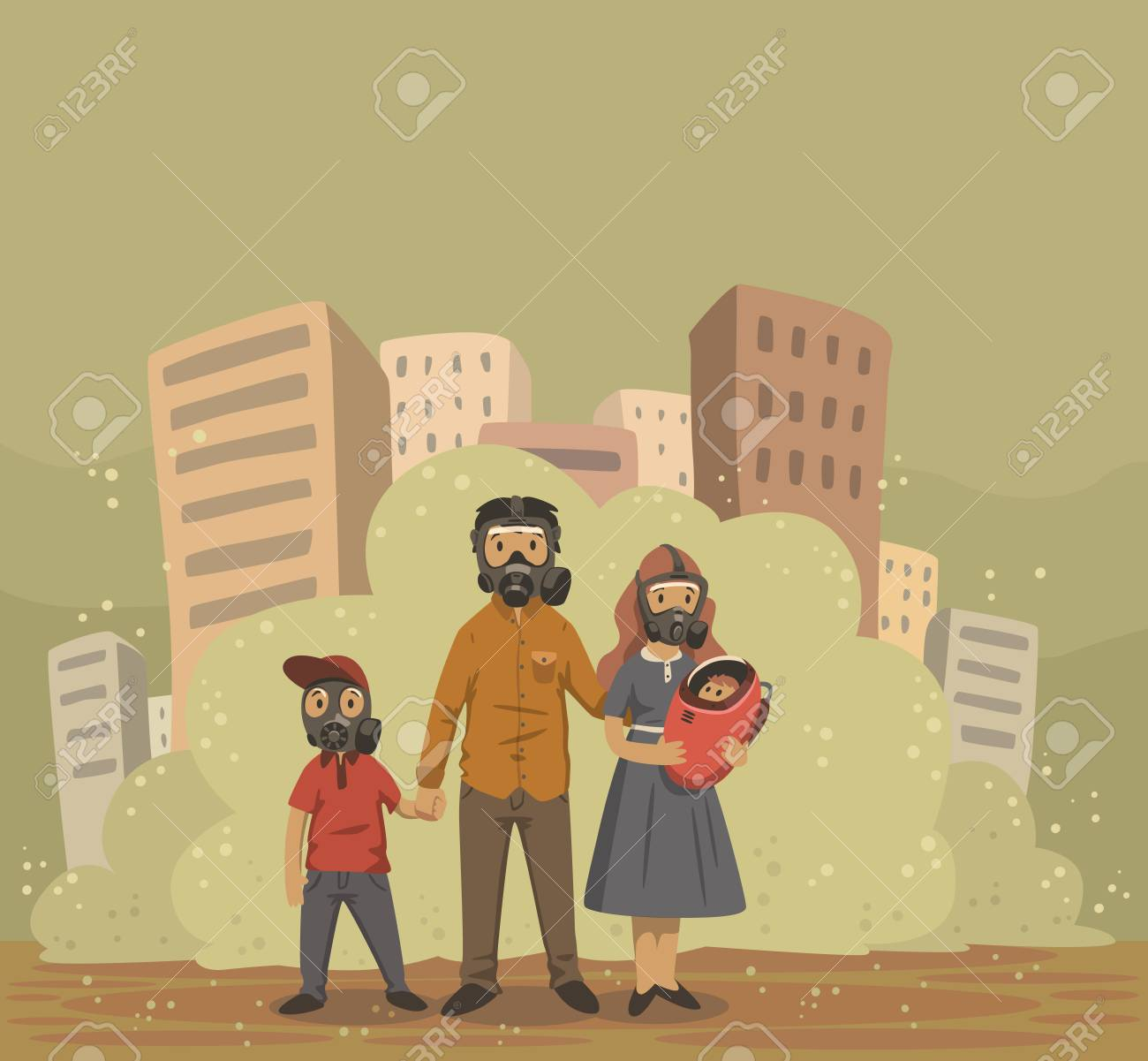 Family in gas masks on smog dusty city background. Environmental problems, air pollution. Flat vector illustration. - 110283157