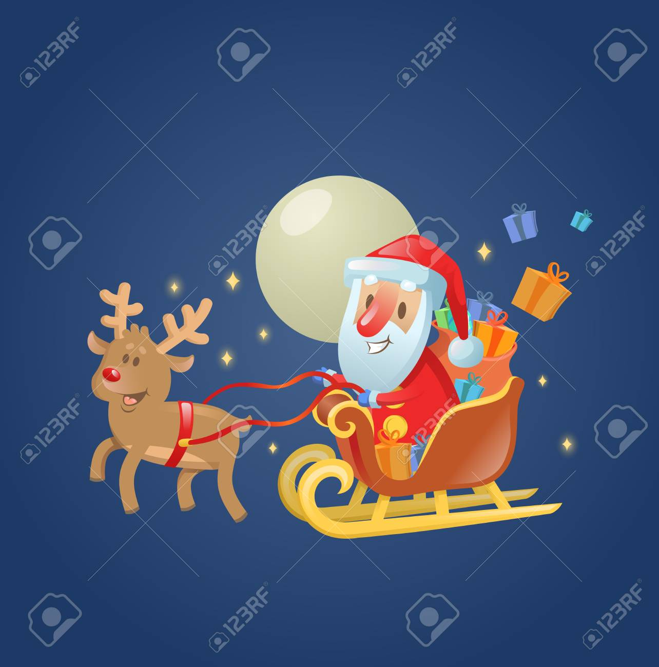 santa claus in his christmas sled sleigh with his reindeer across