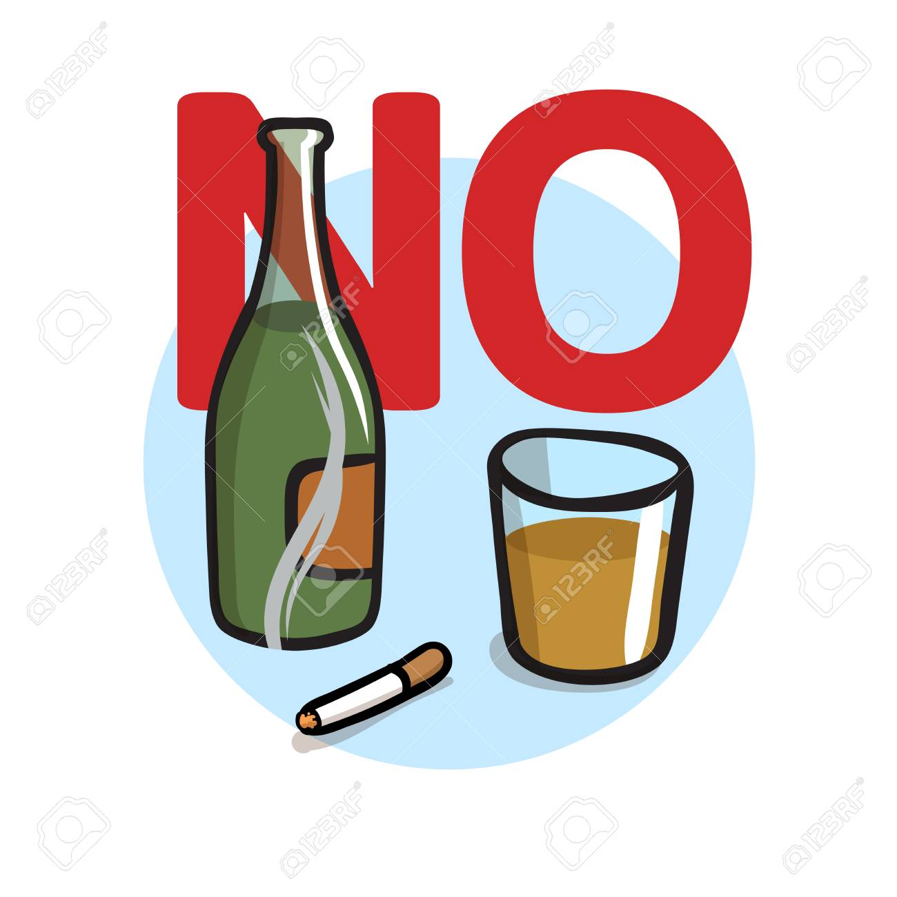 No Smoking, No Alcohol. Colorful flat vector illustration. Isolated on white background. - 109844453