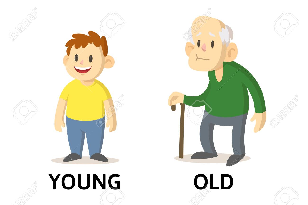Words Young And Old Textcard With Cartoon Characters. Opposite.. Royalty  Free Cliparts, Vectors, And Stock Illustration. Image 144568622.