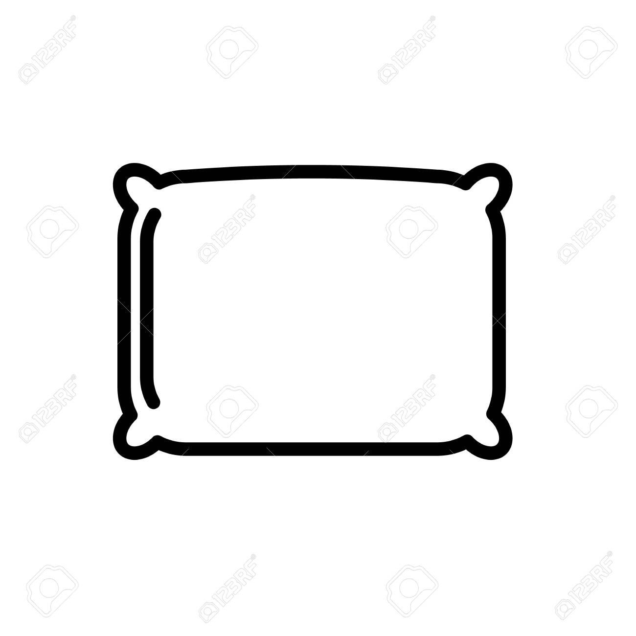 Square pillow minimal black and white outline icon. - 150936697