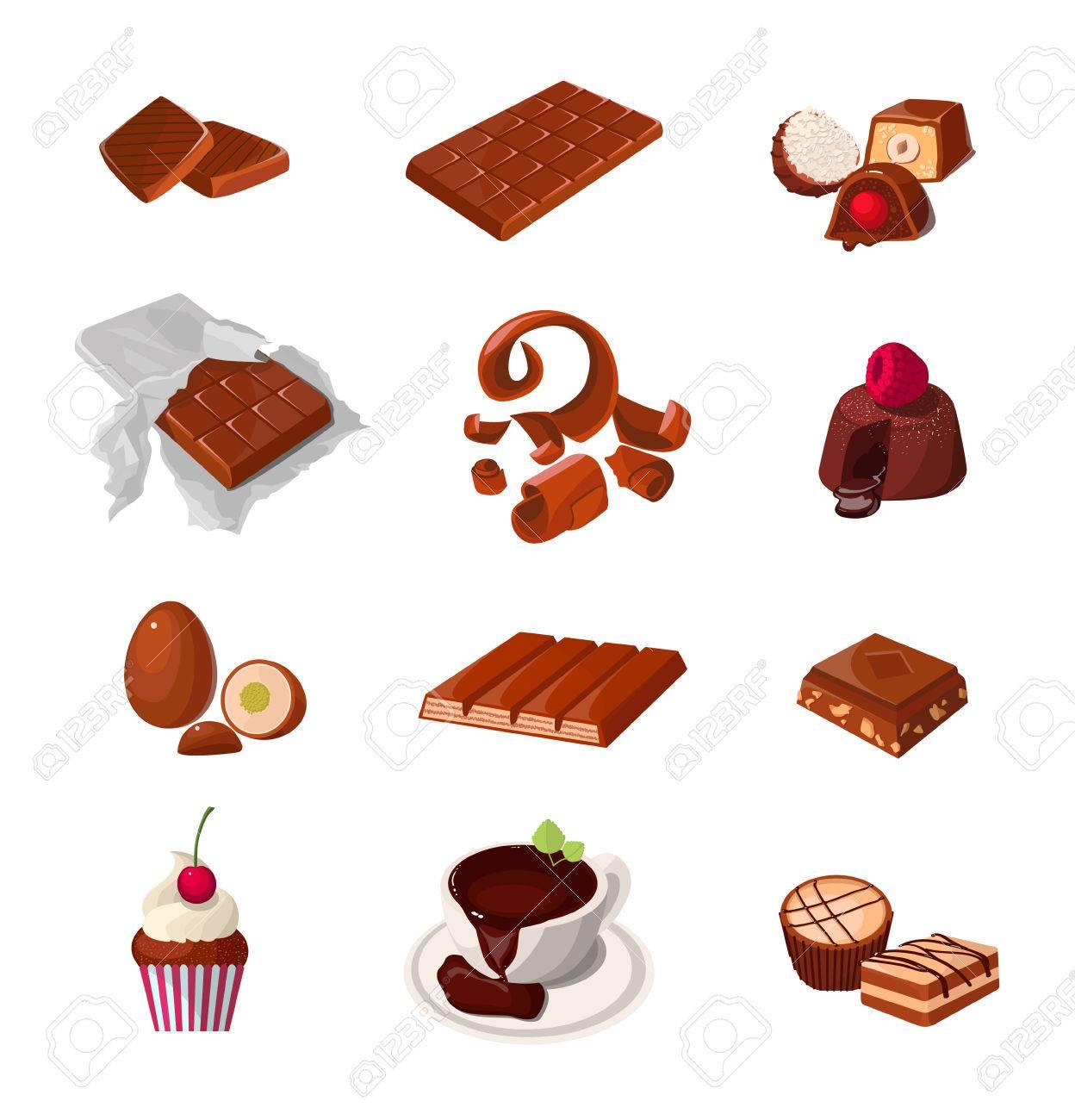 チョコレート製品のセットですさまざまな生地のお菓子分離のリアルな