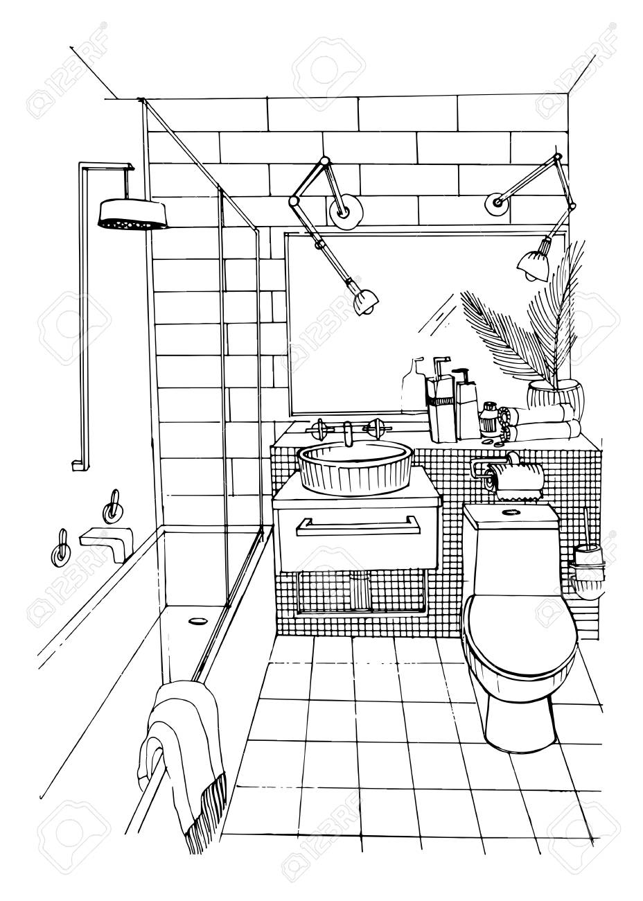 Hand Drawn Modern Bathroom Interior Design Vector Sketch Illustration Stock