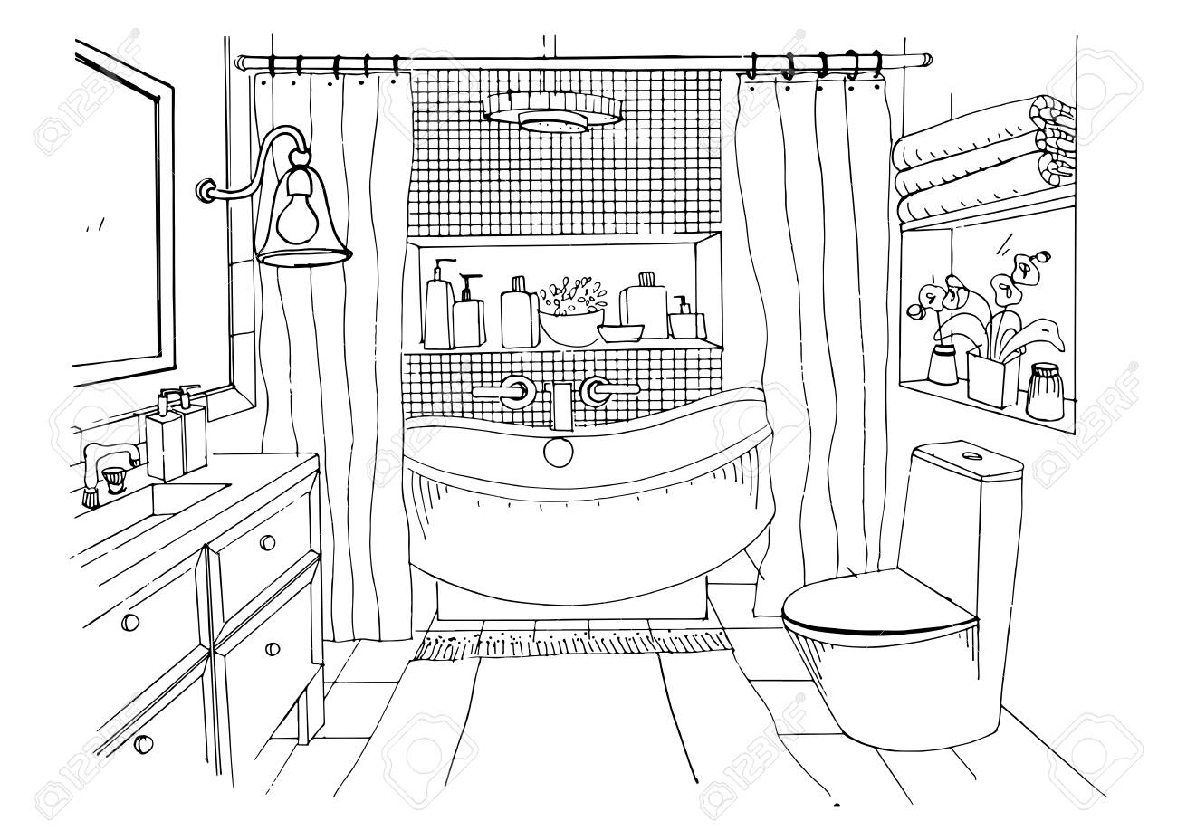 Hand drawn modern bathroom interior design, Vector sketch illustration.