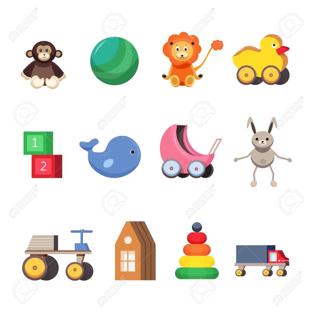 Vettoriale Set Di Giocattoli Per Bambini Illustrazioni Piatte