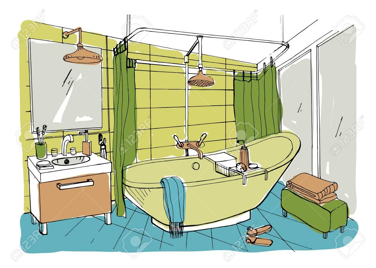 Design d\'intérieur salle de bain moderne dessiné à la main. Illustration de  croquis coloré de vecteur.