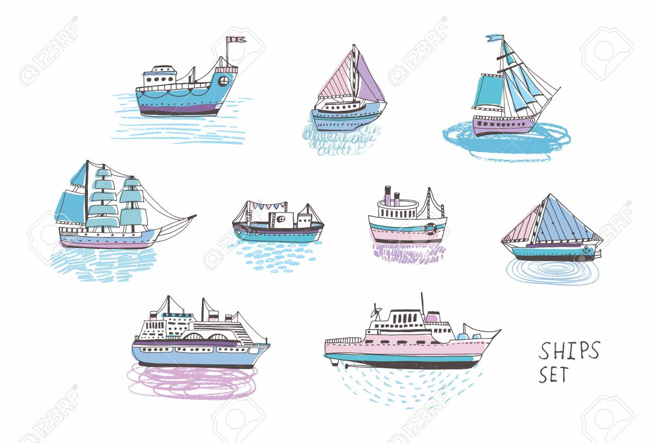 set of different isolated doodle ships yachts boats sailing