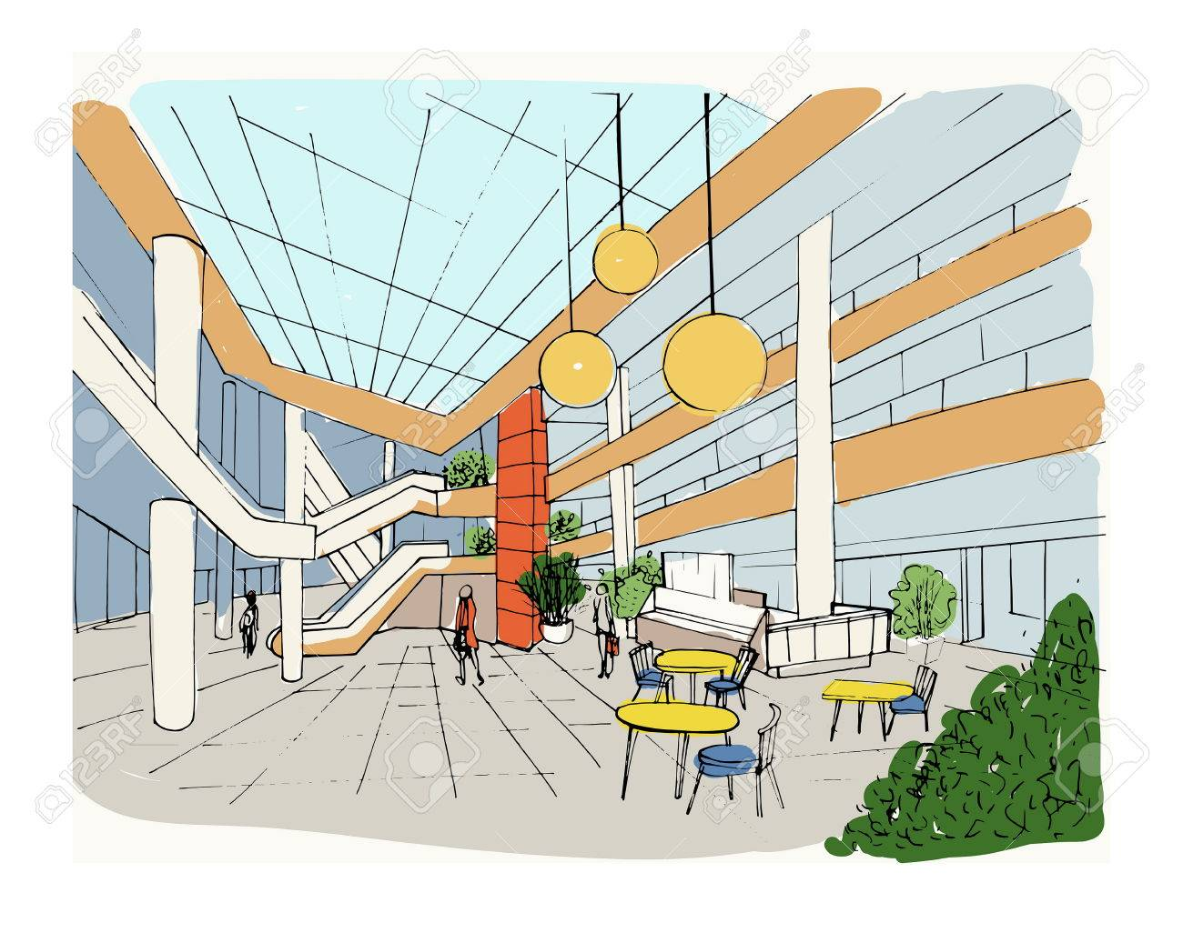 Modern Interior Shopping Center, Mall. Colorful Sketch Illustration ...