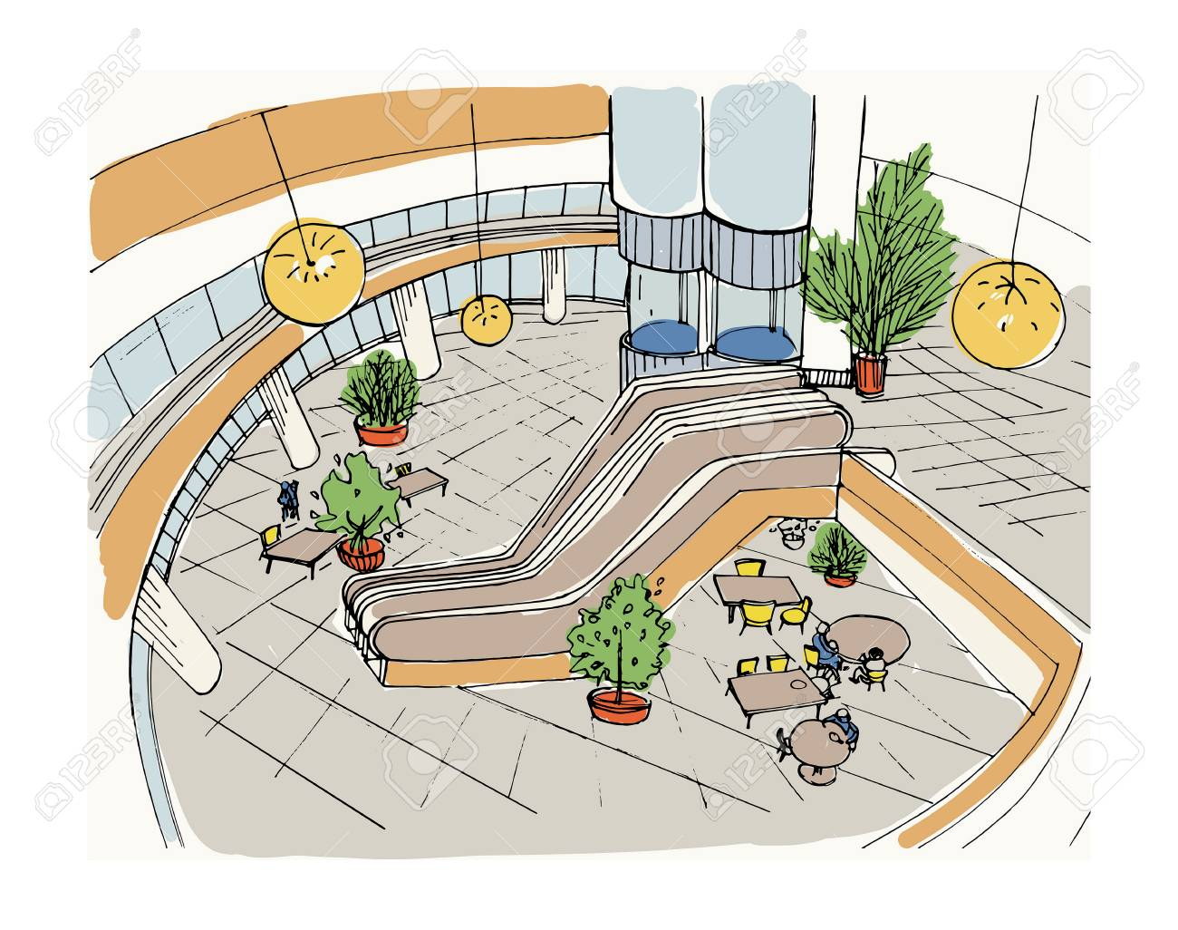 Modern Interior Shopping Center, Mall. Top View. Colorful Sketch ...