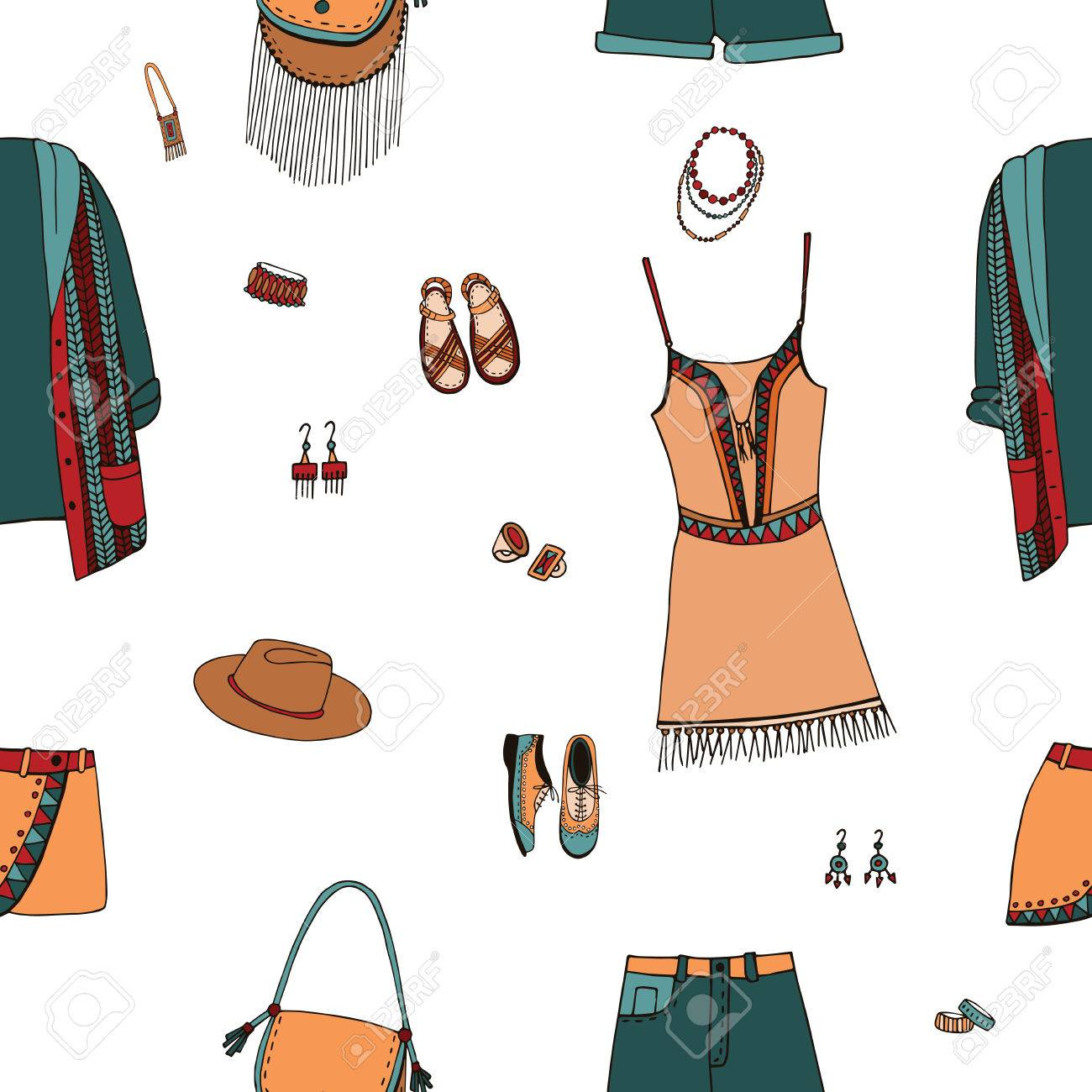 2905239f79 Bohemian Fashion Style Seamless Pattern. Boho And Gypsy Clothes ...