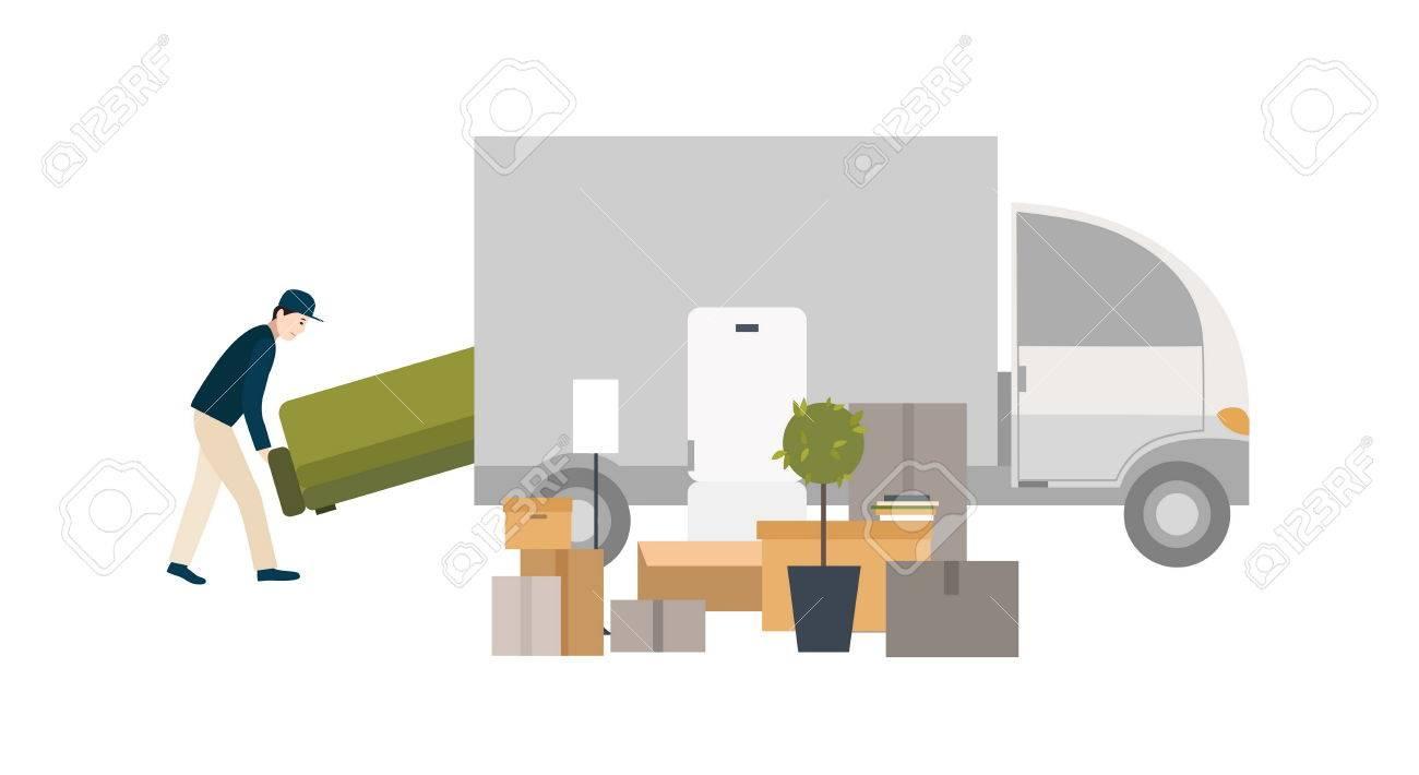 Arbeiter Lädt Dinge Für Den Transport. Umzug In Ein Neues Haus ...
