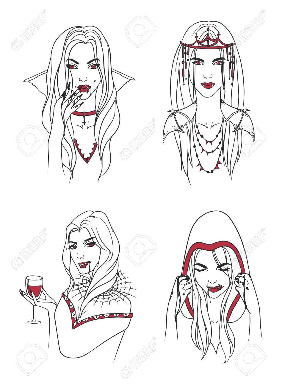 Chica Vampiro Mujer Con Colmillos Y Sangre Carácter Elegante De Halloween Del Retrato De La Colección Ilustración Vectorial Dibujado A Mano Del