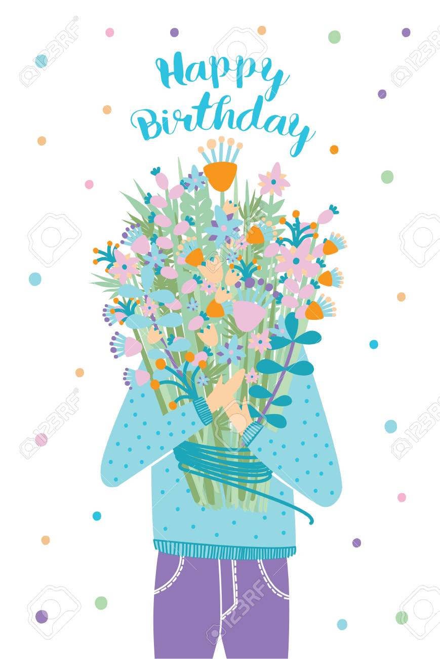 Happy birthday greeting card guest with flower bouquet royalty happy birthday greeting card guest with flower bouquet stock vector 76887435 m4hsunfo
