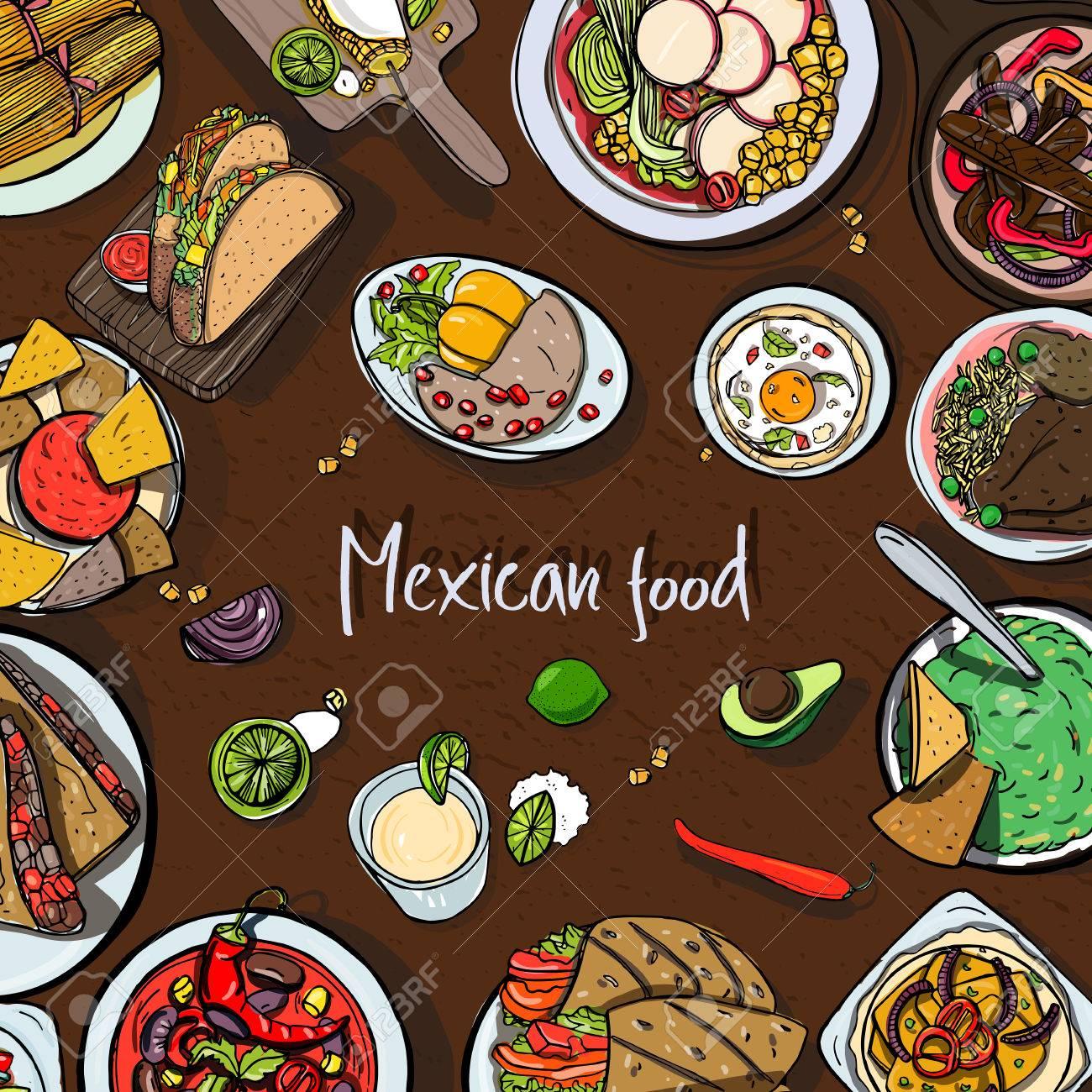 Fondo Cuadrado Con Comida Mexicana, Cocina Tradicional. Mano Dibuja La  Ilustración Vectorial Colorido Con