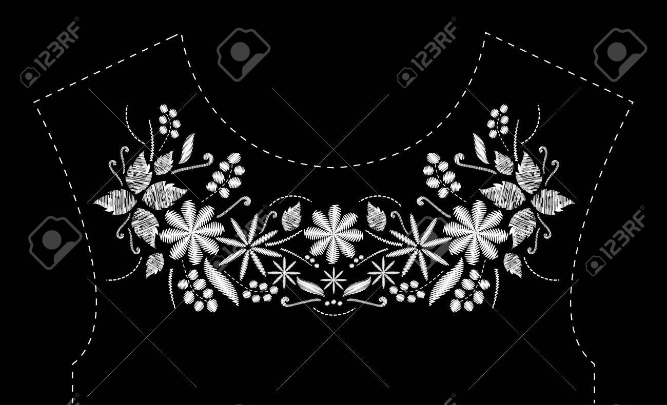 Satin Stitch Embroidery Design With Flowers. Folk Line Floral ...