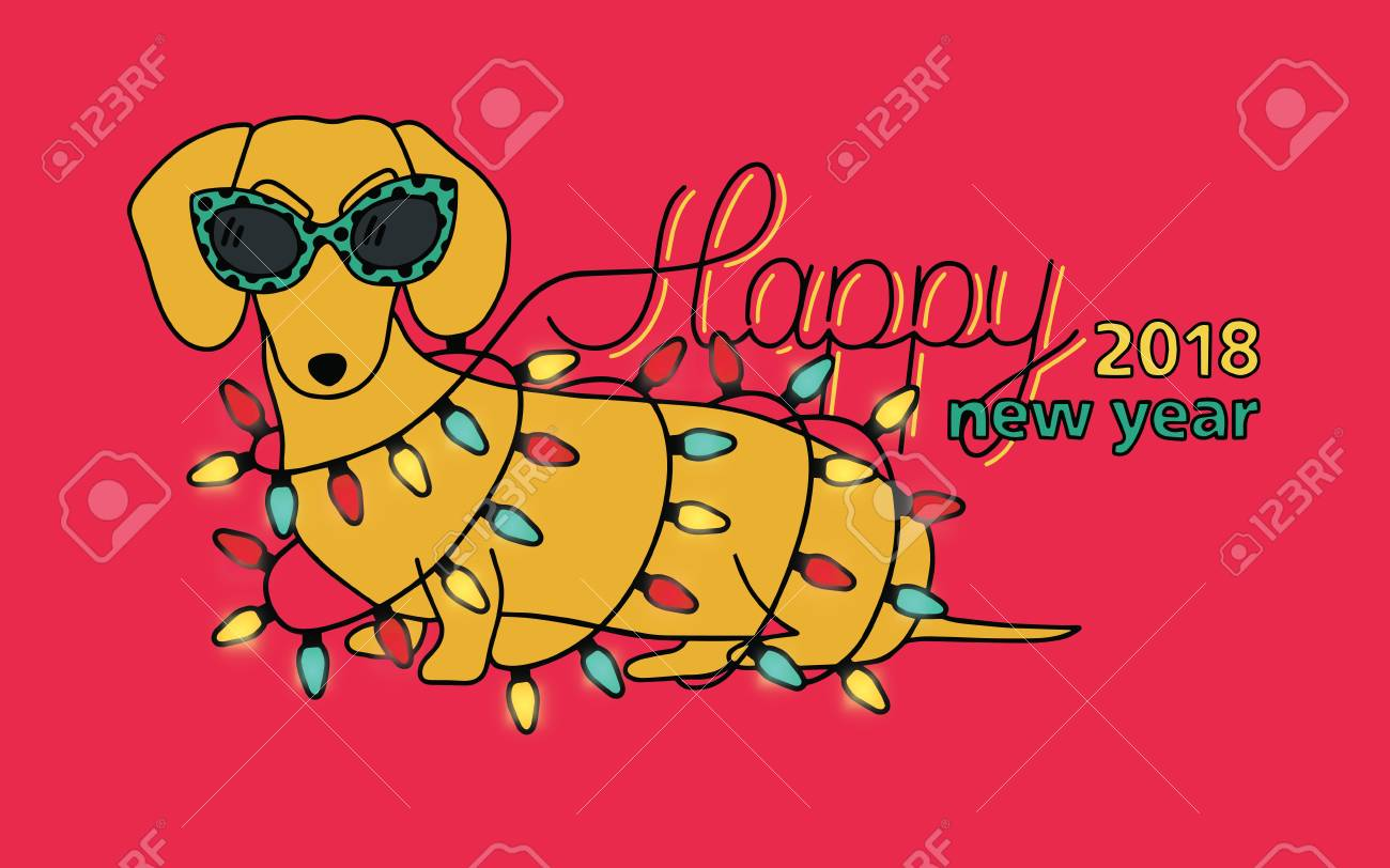 Happy New Year 2018, Horizontal Greeting Card. Chinese Year Of Yellow Dog.  Congratulation