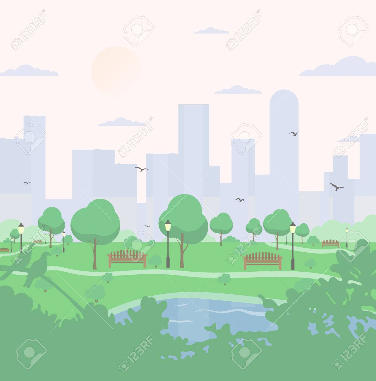 City park on high-rise buildings background. landscape with trees, bushes, lake, birds, lanterns and benches. Colorful vector square illustration in flat cartoon style. - 80120840