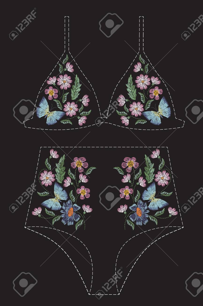 Satin Stitch Embroidery Design With Flowers And Butterflies ...
