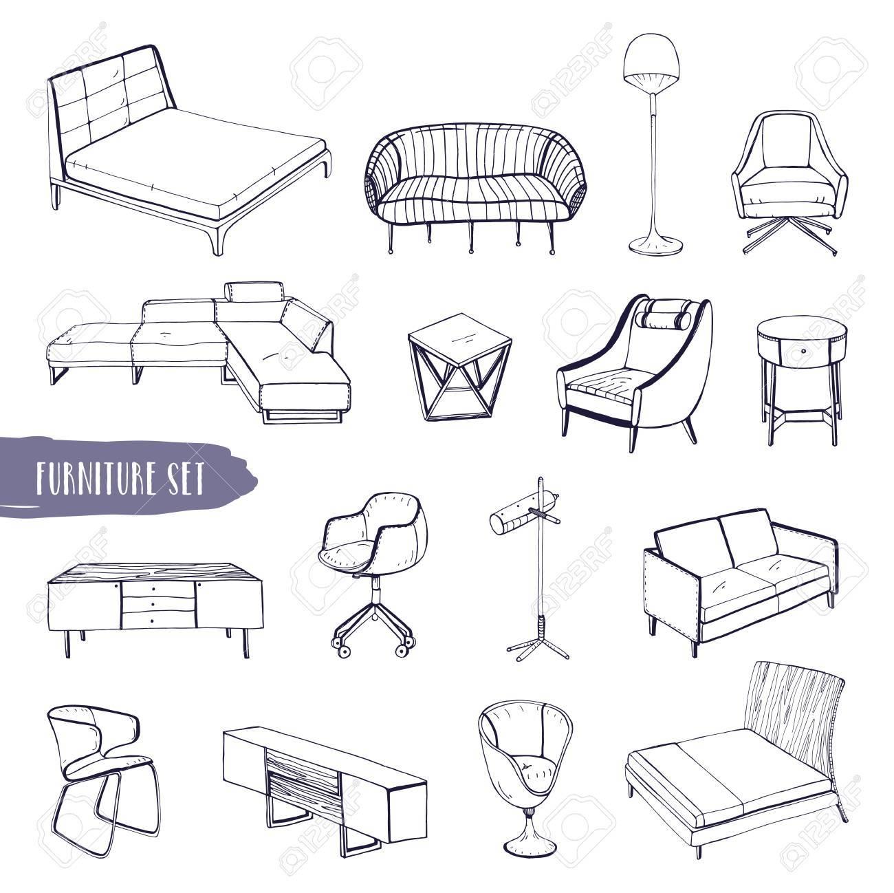 Hand Drawn Different Types Sofas, Chairs And Armchairs, Bedside
