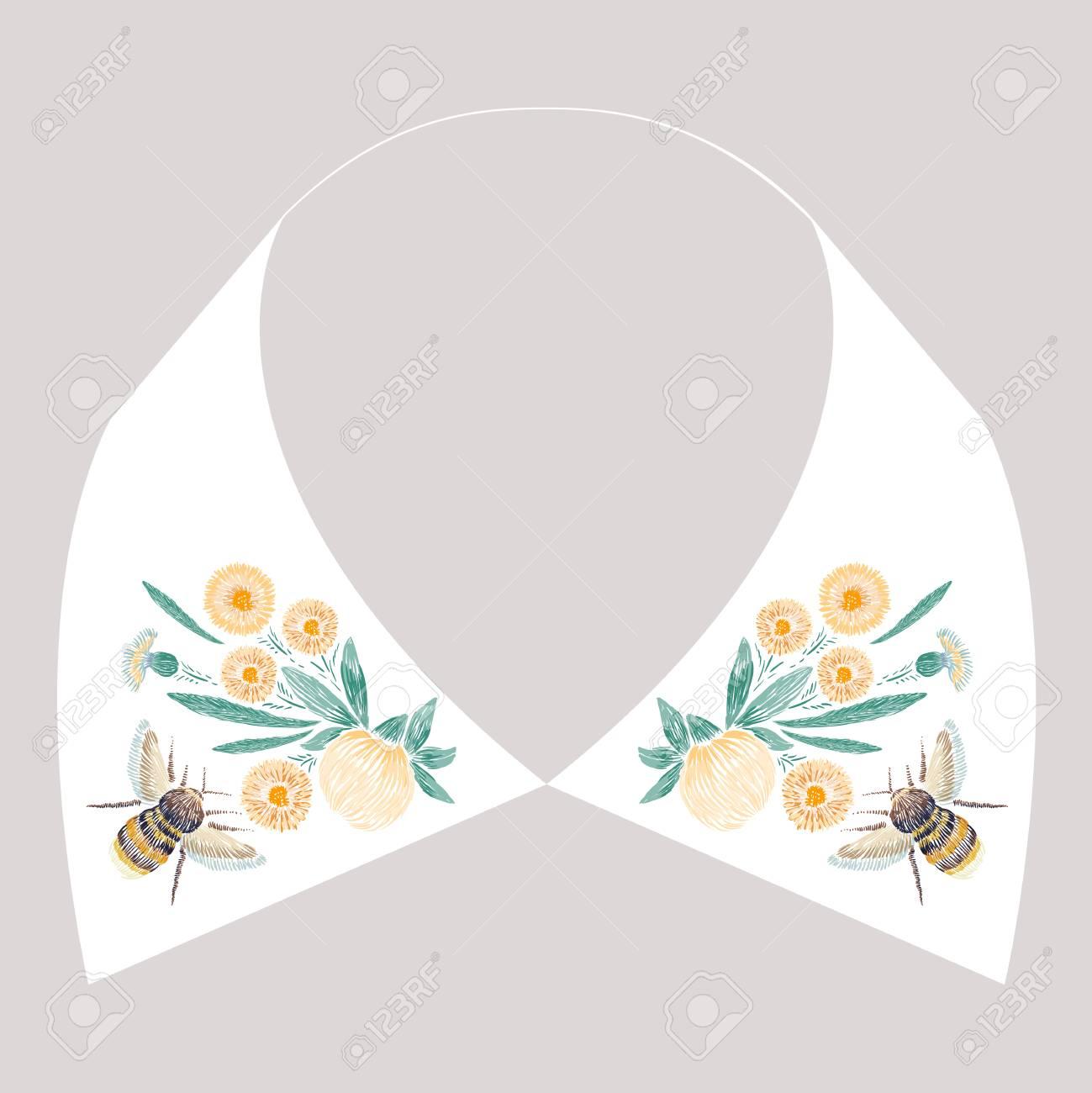 Diseño De Bordado De Punto De Satén Con Flores Amarillas Y Abeja ...