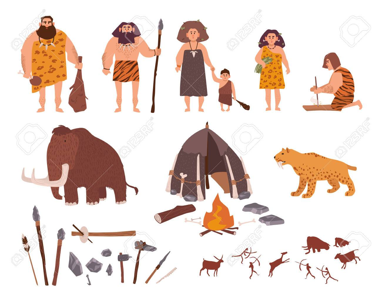 Set of Stone Age theme. Primitive people, children, mammoth, dwelling, hunting and labor tools, saber-toothed tiger, fire, rock carvings. Colorful vector collection in cartoon style. - 80632235