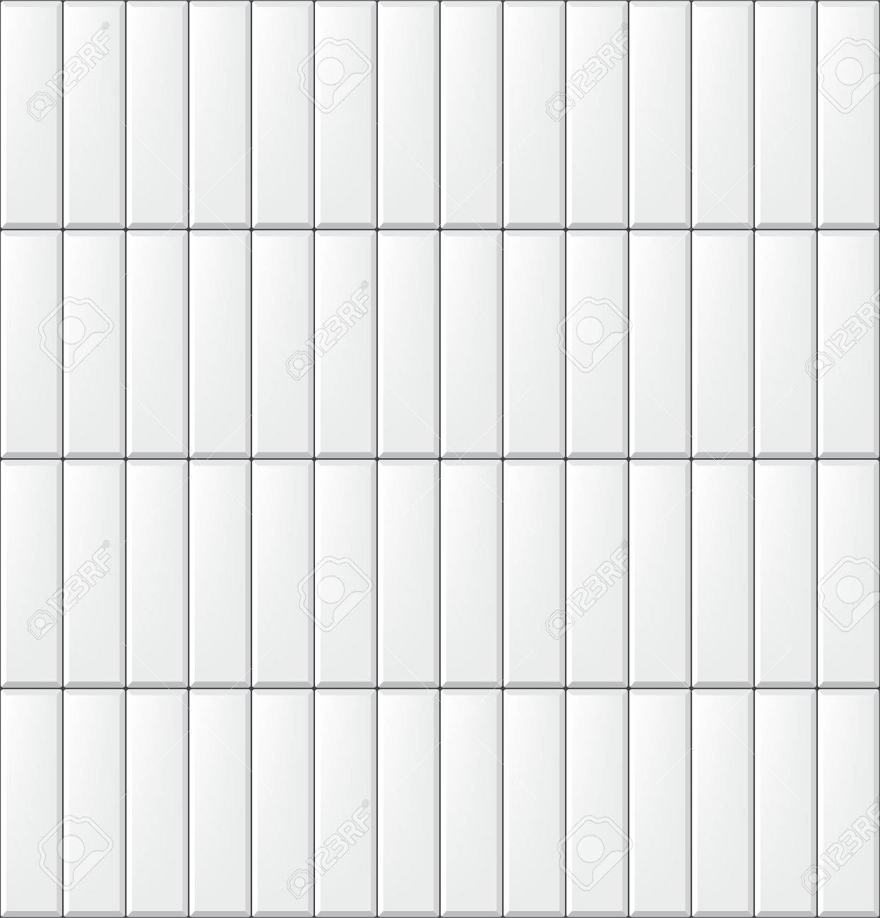 Seamless pattern with modern vertical rectangular white tiles. Realistic texture. Vector illustration. - 81388539