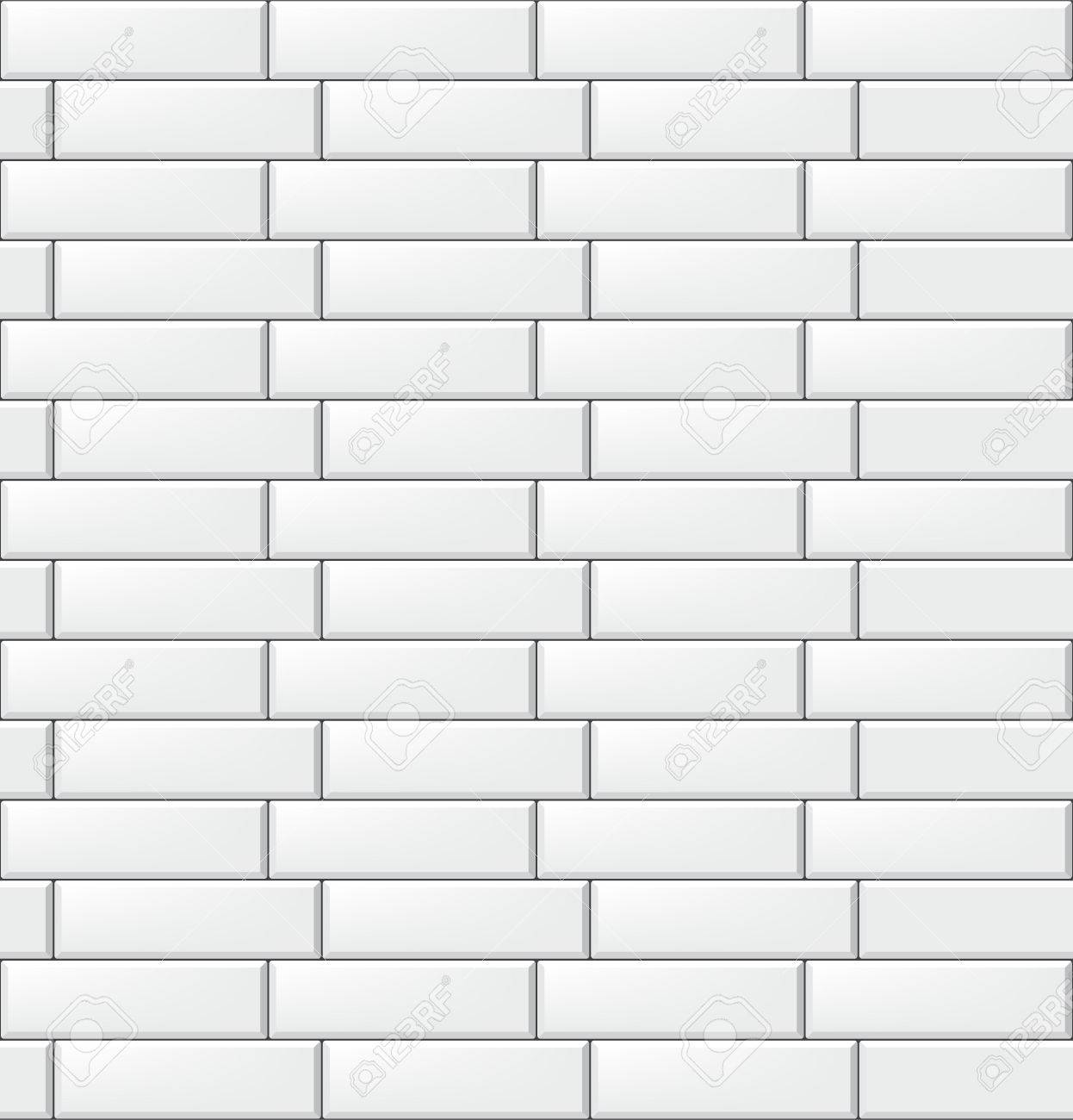 Seamless Pattern With Modern Rectangular White Tiles. Realistic ...