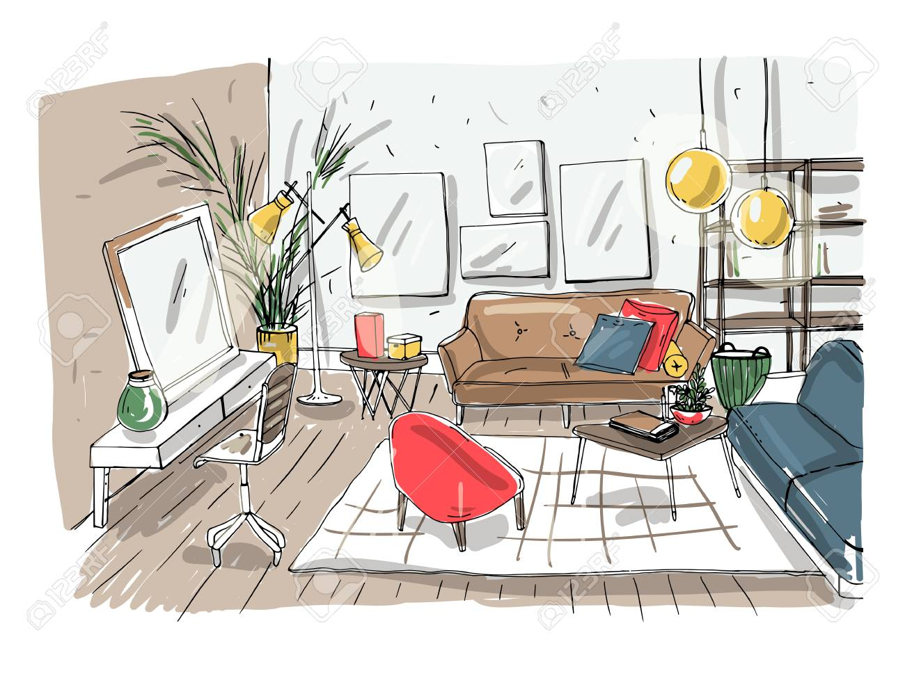 Modern Living Room Interior. Furnished Drawing Room. Colorful ...