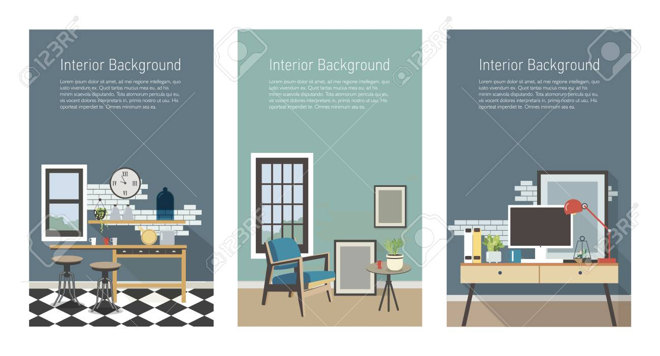 Modern interior banners set  Kitchen, living room, workplace