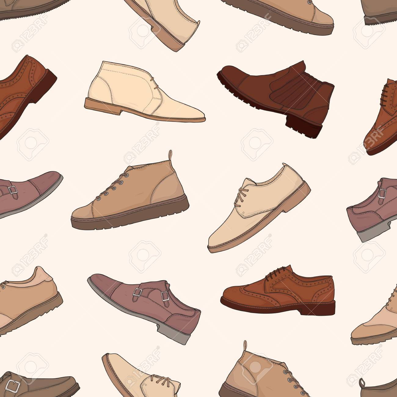 Patrón Sin Fisuras Con Diferentes Tipos De De Botas Y Zapatos De De Los ab847a