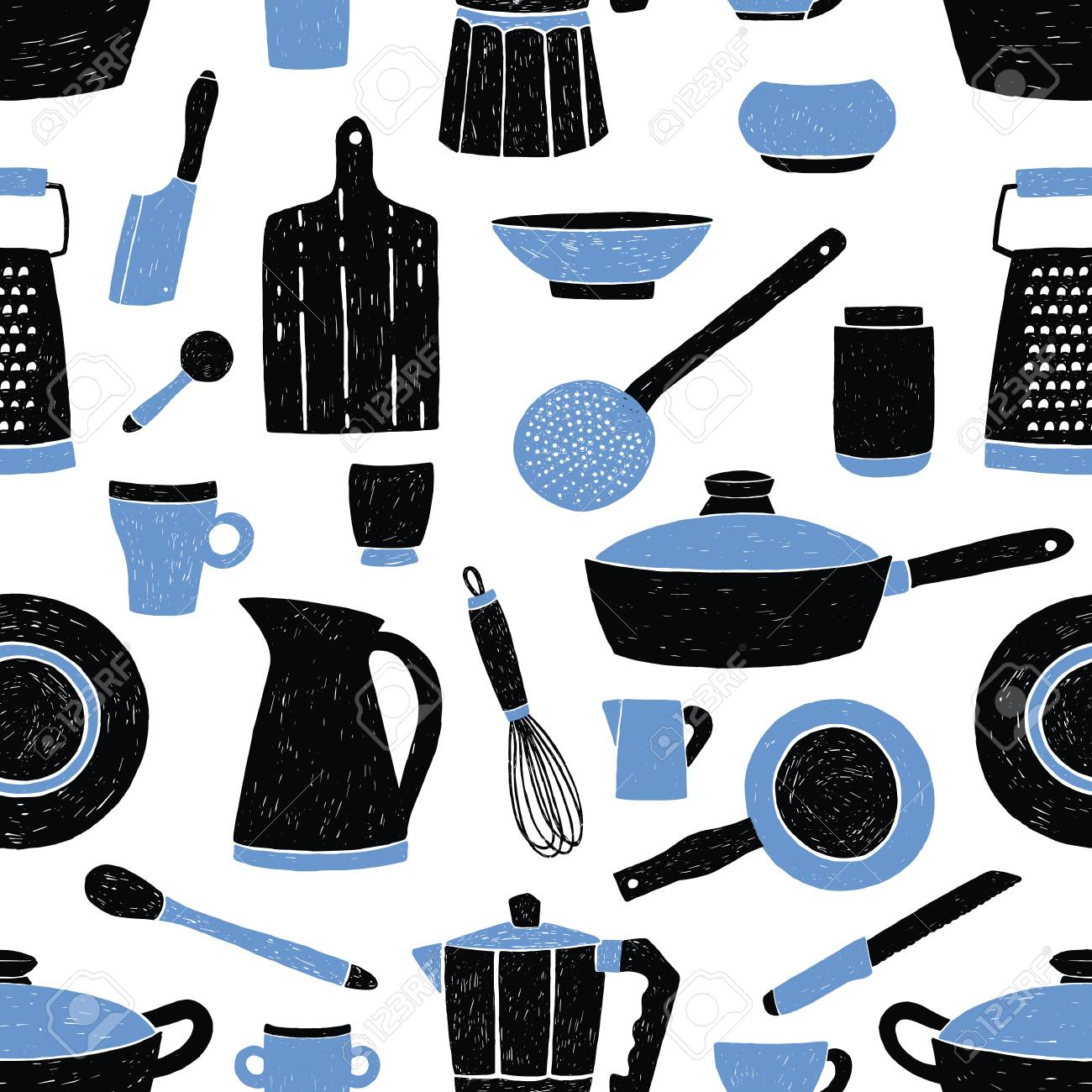 Seamless Pattern With Black And Blue Kitchen Utensils Tableware