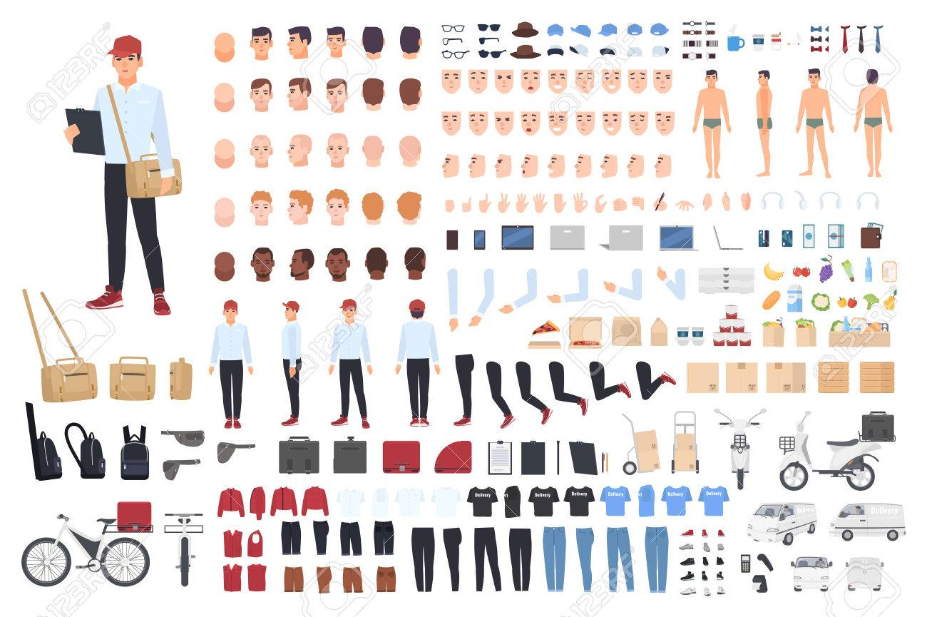 Delivery man creation set or building kit. Bundle of cartoon character s body parts in different postures, details, tools isolated on white background. Vector illustration front, side, back view. - 85476034