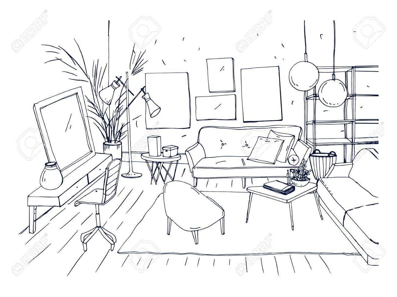 De Salon Dessiné Du ModernesCroquis Autres À La Main Dessin Basse Avec Monochrome Et L'appartement Meubles L'intérieur CanapéChaisesTable FTJ3lK1c
