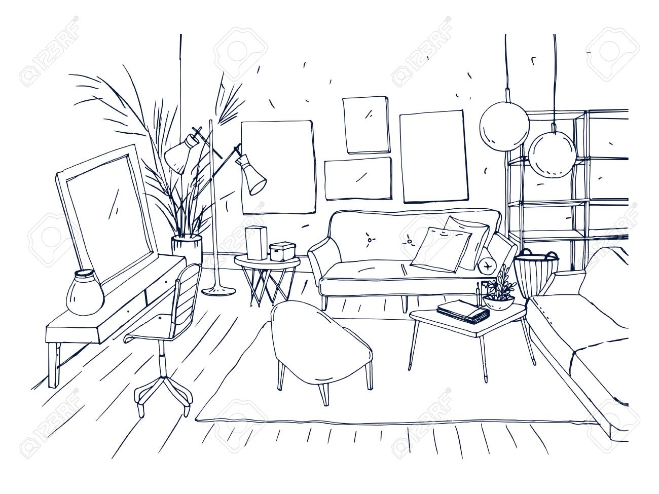 coffee table drawing. Unique Table Monochrome Drawing Of Interior Living Room With Sofa Chairs Coffee  Table And Other With Coffee Table Drawing