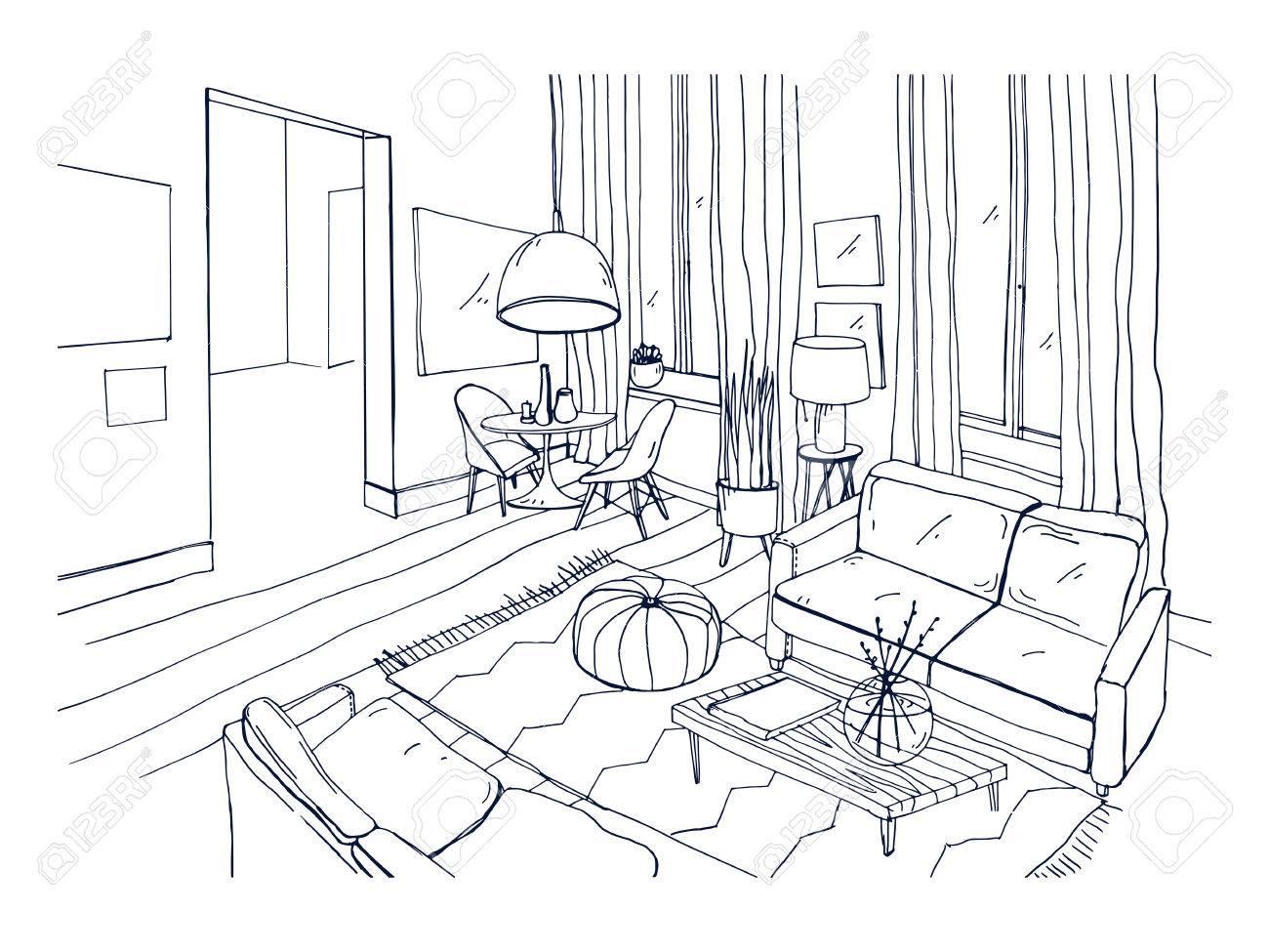 Dessin Avec La Main dessin à main levée de salon plein de meubles confortables et décorations  pour la maison. croquis de l'intérieur de l'appartement moderne dessiné à  la