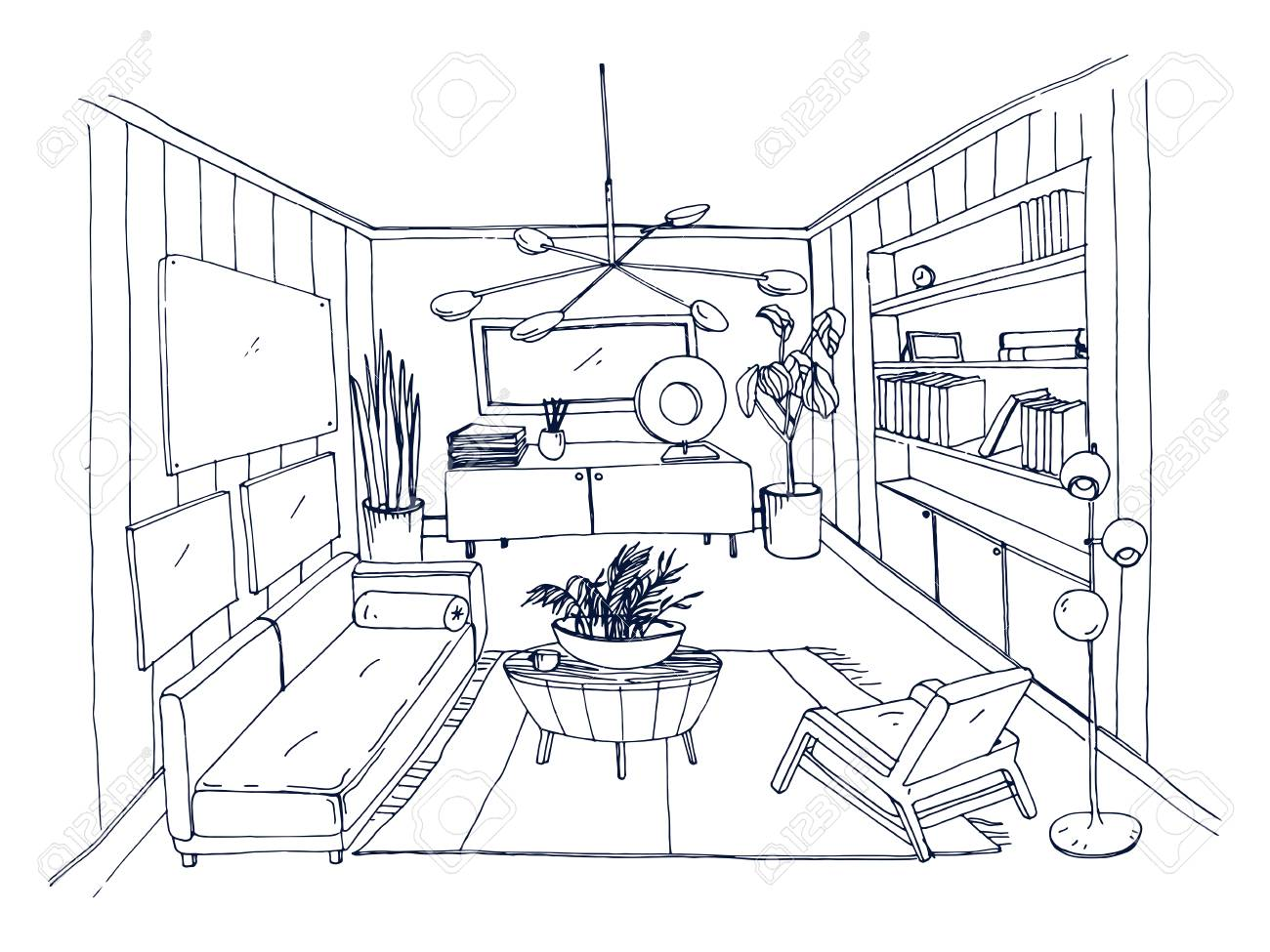 Sketch Of Stylish Living Room Full Of Furnishings Hand Drawn ...