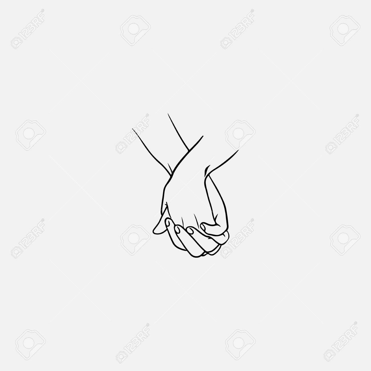 Holding hands with interlocked or intertwined fingers drawn by black lines isolated on white background