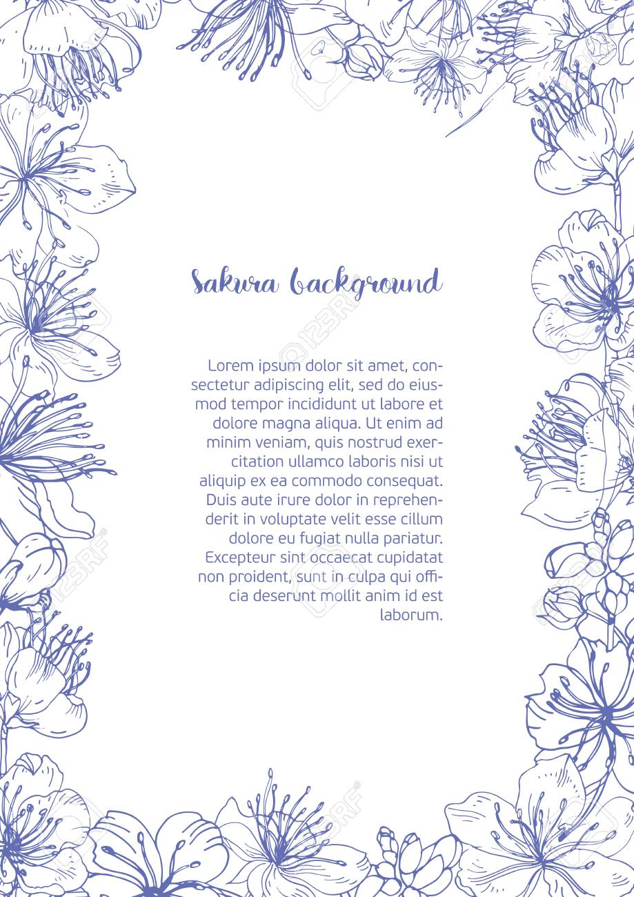 モノクロの背景花のフレームに美しい花が咲くとセンター内のテキストの輪郭線と場所日本さくら手書きの芽成っていた 植物のベクトル図です のイラスト素材 ベクタ Image