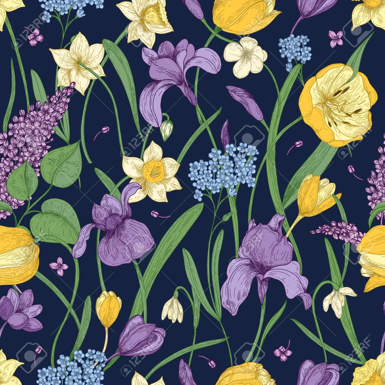 暗い背景の美しい春の花とエレガントな花柄シームレス パターン 豪華